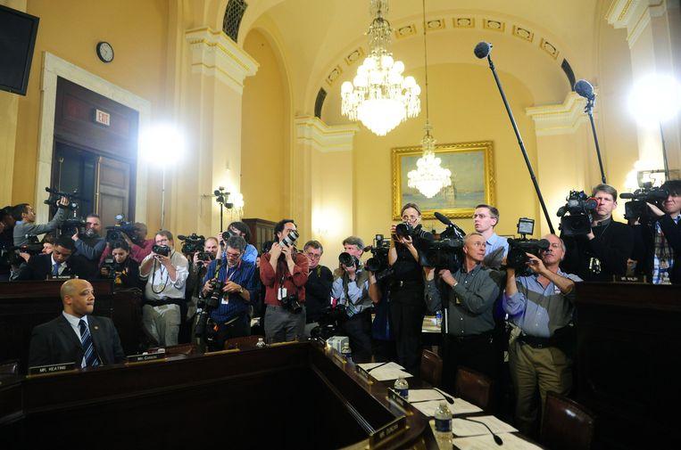 De pers wacht op een toespraak van Peter King van het House Homeland Security Committee. Beeld UPI Photo / eyevine