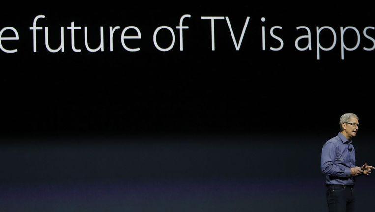 Apple-topman Tim Cook tijdens de presentatie. Beeld epa