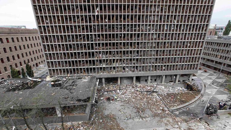 Noorse regeringsgebouw na het ontploffen van Breiviks bom. Beeld REUTERS