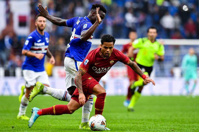 Justin Kluivert in actie tegen Sampdoria.
