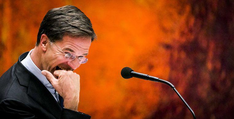 Premier Mark Rutte tijdens het debat over het kabinetsbesluit om de dividendbelasting te behouden. Beeld ANP
