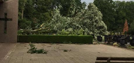 Mikado door omgewaaide bomen op kerkhof in Liessel