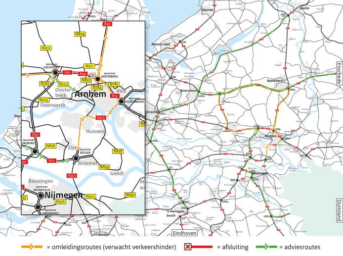 De omleidingsroutes rond Arnhem tijdens de tiendaagse afsluiting van de A12/A50 bij de Gelderse hoofdstad.