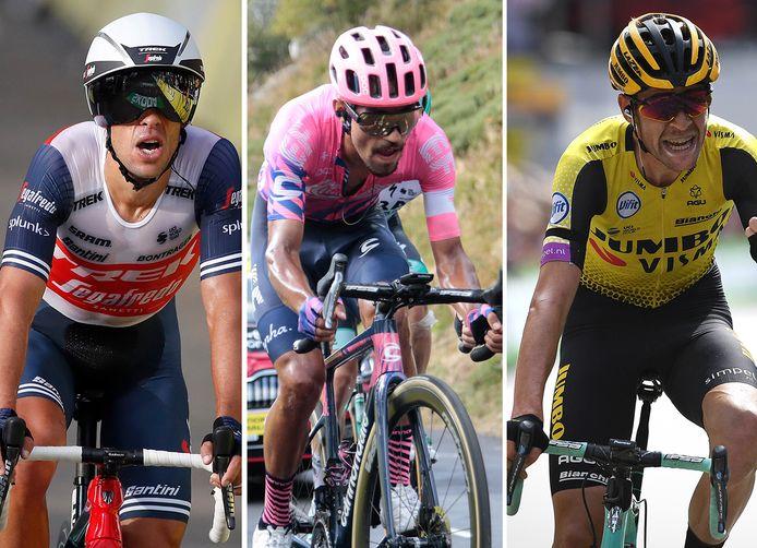 Drie van de vier aanwinsten bij Ineos, vlnr: Richie Porte, Daniël Martínez en Laurens de Plus.