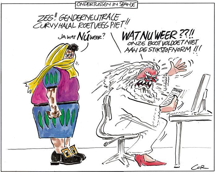 De tekening waarin Cor de discussie over roetveegpieten combineerde met de problemen door het stikstofbesluit.
