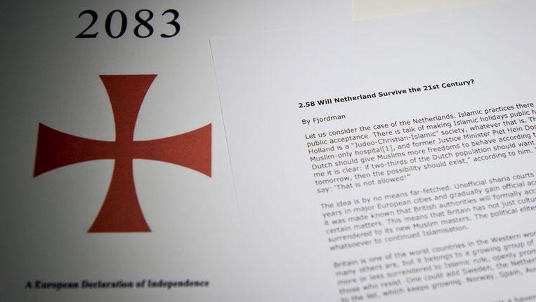 Het manifest van Breivik. Beeld null