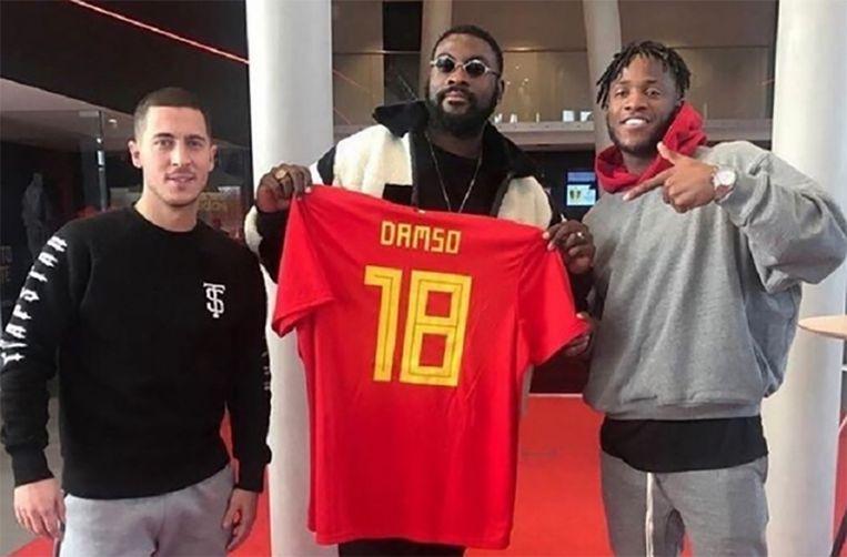Rapper Damso met Eden Hazard en Michy Batshuayi