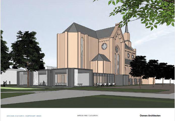 De aanbouw aan de achterzijde van de kerk