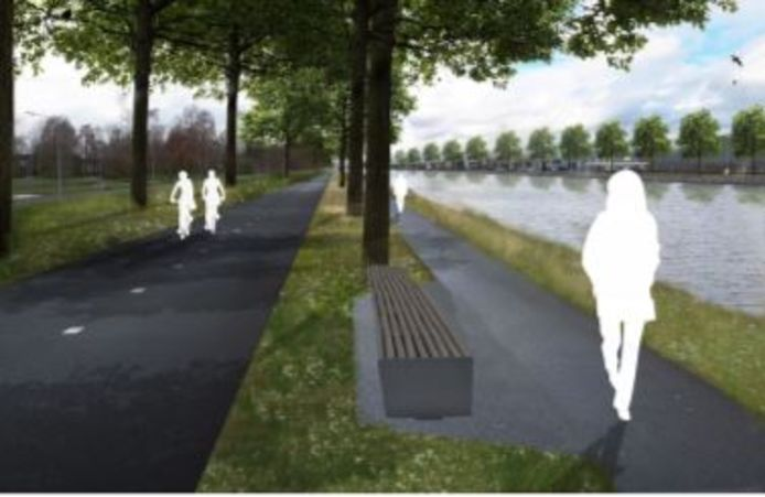 Impressie van de nieuwe situatie bij het Wilhelminakanaal ter hoogte van Reeshof: een breed snelfietspad en een vrijliggend wandelpad.