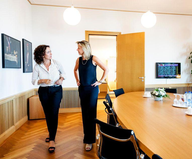 Minister Kajsa Ollongren (Binnenlandse Zaken) ontving Femke Halsema begin deze maand voor een kennismakingsgesprek. Beeld anp