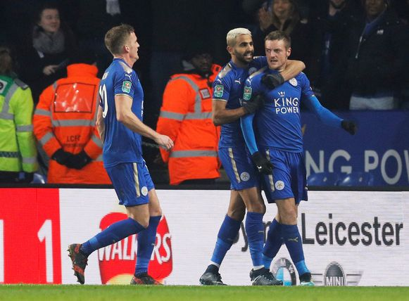 """Soccer Football - Carabao Cup Quarter Final - Leicester City vs Manchester City - King Power Stadium, Leicester, Britain - December 19, 2017   Leicester City's Jamie Vardy celebrates scoring their first goal with Riyad Mahrez and Andy King   REUTERS/Darren Staples    EDITORIAL USE ONLY. No use with unauthorized audio, video, data, fixture lists, club/league logos or """"live"""" services. Online in-match use limited to 75 images, no video emulation. No use in betting, games or single club/league/player publications.  Please contact your account representative for further details."""