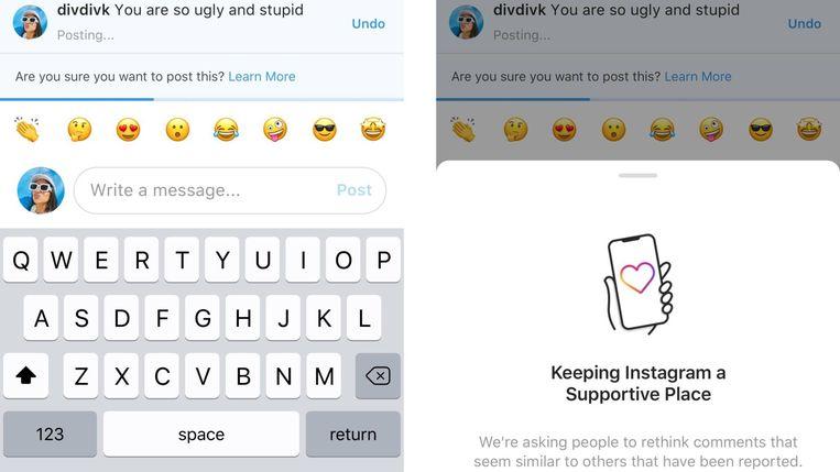 Zo ziet het eruit als iemand een belediging wil plaatsen op Instagram - voorlopig alleen voor Engelstalige gebruikers. Beeld Instagram