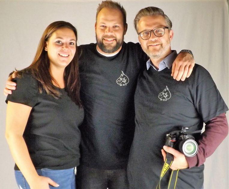 Het team achter 'Bike for MS 2018', met van links naar rechts Evelyne Renard, Maarten Van der Mueren en Sven Van Santvliet.