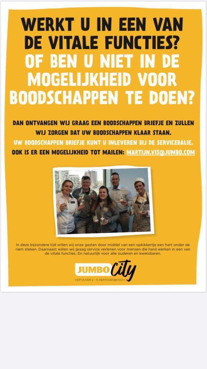 Ook Jumbo City in Den Bosch zet boodschappen klaar voor klanten met een vitaal beroep.