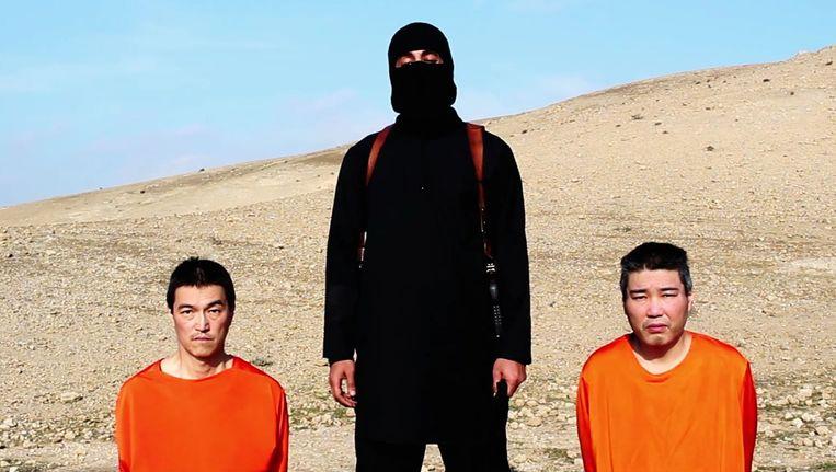 Kenji Goto Jogo (links) en Haruna Yukawa in handen van IS.