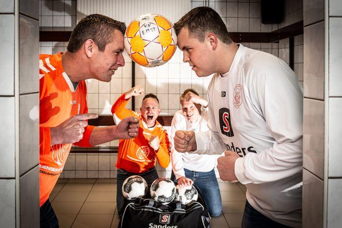 Emst 4 en Emst 5 staan zondag tegenover elkaar als tegenstanders. In het oranje Hendri Bekamp (links) en Gerben van Esesn namens het vierde team. In het wit Tim van Maastricht (rechts) en Mark van Huffelen.