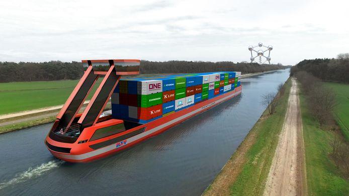 Impressie van volledig elektrisch aangedreven containerschip van Port-Liner.