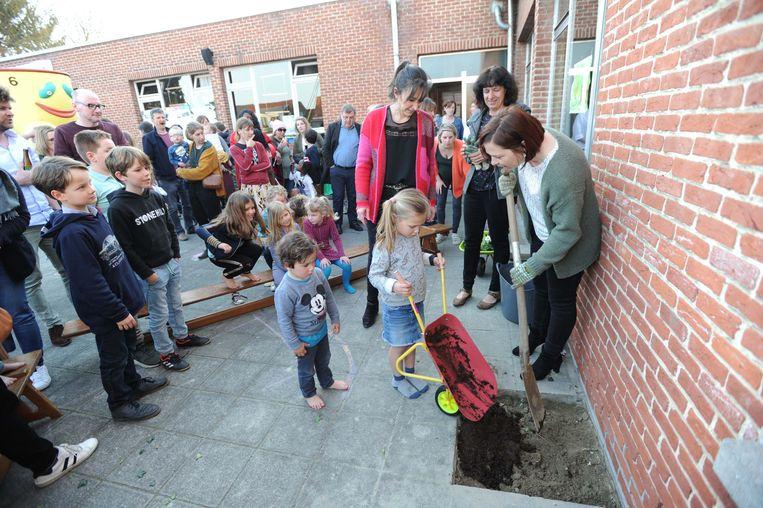 De eerste bloemen voor de groene speelplaats werden door de kleuters zelf mee geplant.