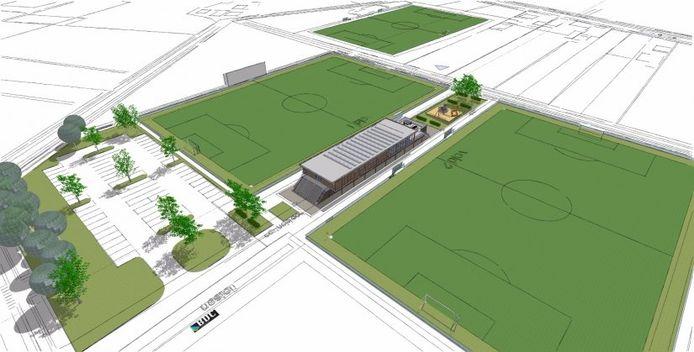Het clubgebouw van fusievereniging SV Rijssen komt te liggen tussen beide speelveleden op sportpark 't Opbroek.