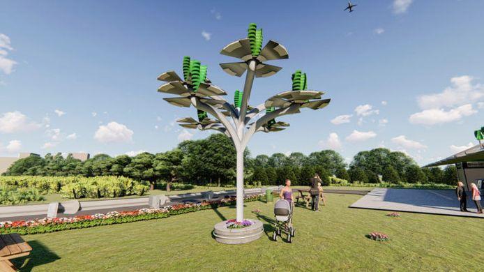 De duurzame energieboom met als bladeren windturbines en zonnepanelen, een ontwerp van Green-infra uit Tubbergen.