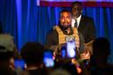 West tijdens zijn eerste verkiezingsbijeenkomst in North Charleston.