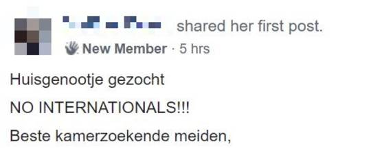 Een deel van een advertentie op Woonruimte aangeboden/gezocht in Tilburg, een facebookpagina waar de termen 'No internationals' of 'Dutch only' geen taboe zijn.