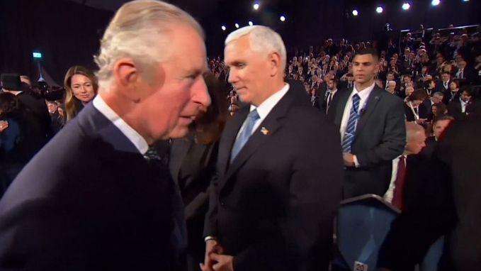 Prins Charles negeert de Amerikaanse vicepresident Mike Pence volledig