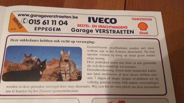 Deze tekst in de folder van de vzw Dierenbescherming Zemst zet kwaad bloed bij Ferry Heikoop, die twee jaar geleden de uitbater van het dierenasiel in Eppegem werd.