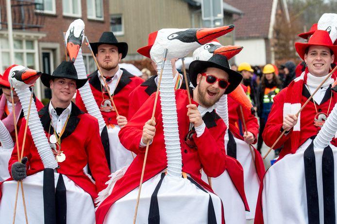 Zwanen. Die mogen niet ontbreken in de carnavalsoptocht van Huissen.