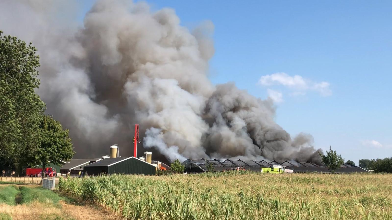 De varkensstal staat in brand in Didam.