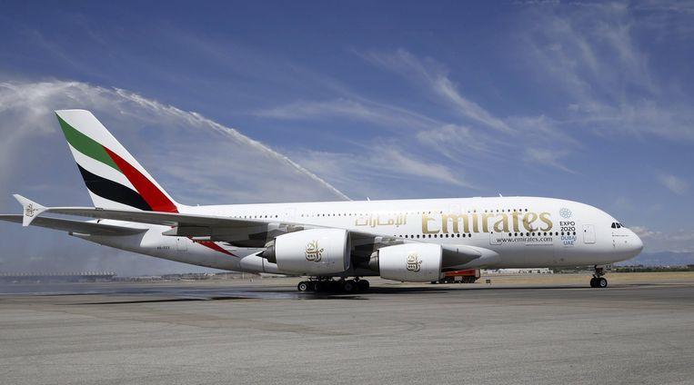 Een Airbus A380 van Emirates.