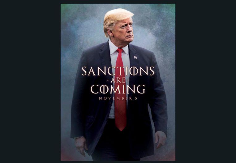 Met deze op Game of Thrones geïnspireerde poster kondigde de Amerikaanse president Trump de sancties aan via zijn Twitter-account.