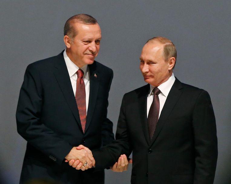 Erdogan en Poetin in oktober vorig jaar Beeld ap