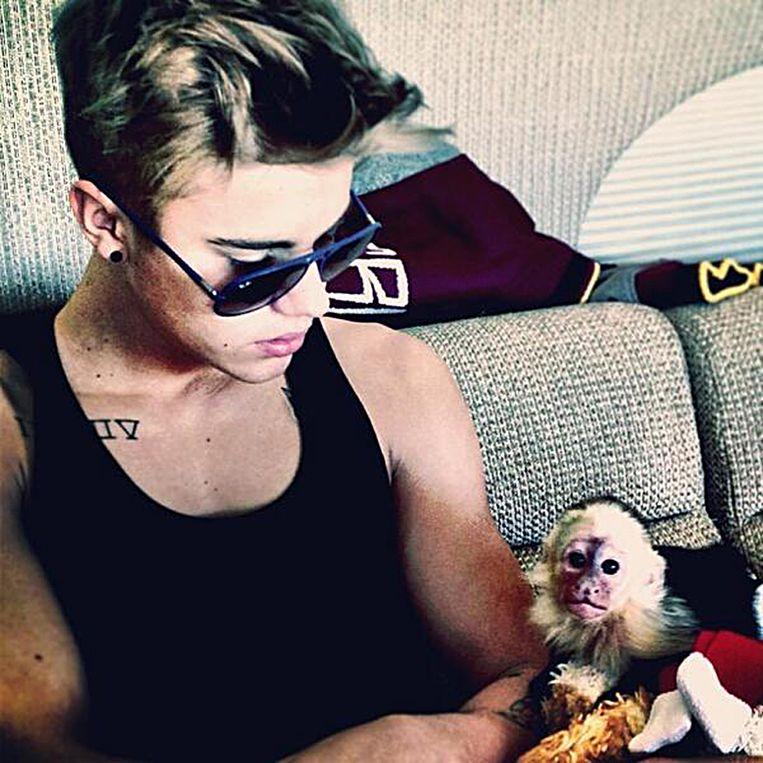 Justin Bieber en zijn aapje Mally