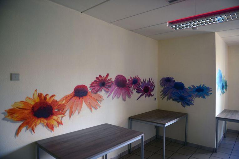 Vier graffiti artiesten, onder leiding van Matthew Dawn voorzien twee student huizen in Leuven van nieuwe interieur decoratie (tekst Andreas).Werk van Din Din