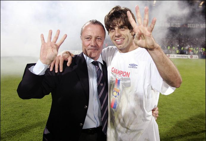 Bernard Lacombe et Juninho, en 2005