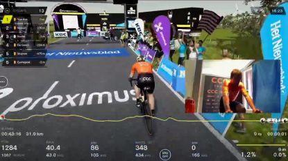 Van Avermaet viert vanuit zijn kot: 'Gouden Greg' wint eerste (virtuele) Ronde van Vlaanderen voor maatje Naesen