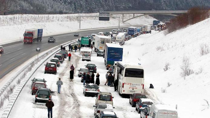 Chaos op de Duitse wegen in 2001.