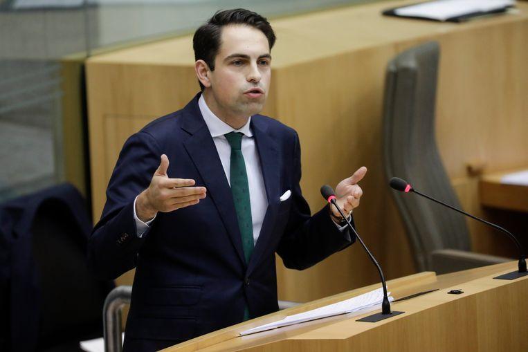 Tom Van Grieken in het Vlaamse parlement.