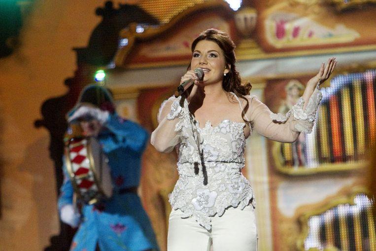 Sieneke tijdens de halve finale van het Eurovisie Songfestival (AFP) Beeld