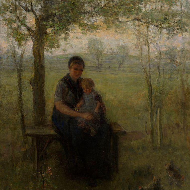 Uitsnede van: Jozef Israëls, 'De Drentse Madonna', olieverf op doek, 141 x 107 cm, 1892-1893 Beeld