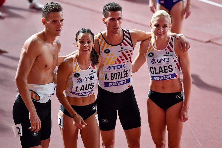 Dylan Borlee, Camille Laus, Kevin Borlee en Hanne Claes.