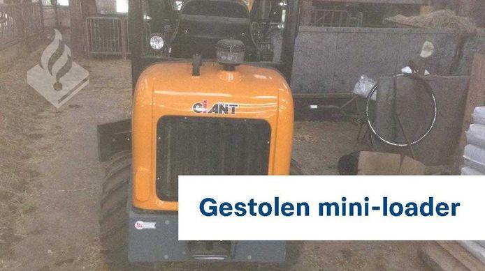 Deze 'mini-loader' werd bij een inbraak in Velp gestolen.