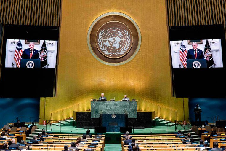 De toespraken bij de VN-vergadering waren vanwege het coronavirus  vooraf opgenomen. Beeld AFP