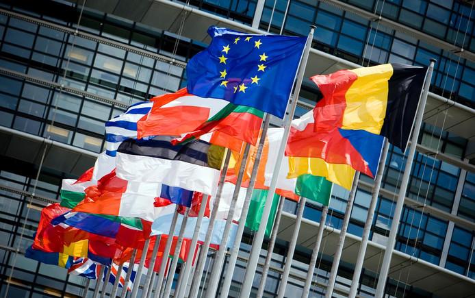 Vlaggen voor het gebouw van het Europese parlement .