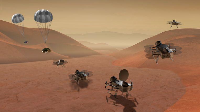 De Dragonfly op de Saturnusmaan Titan.