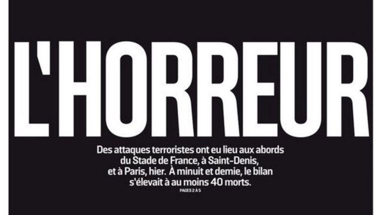 Voorpagina van een Franse krant. Beeld -