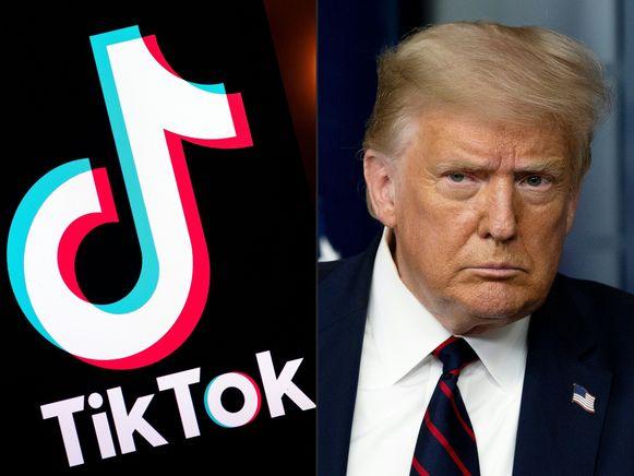 Het logo van TikTok en de Amerikaanse president Trump.