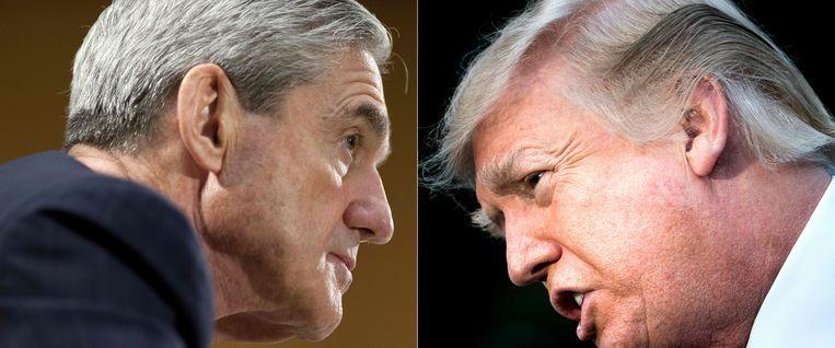 Robert Mueller (links) en Donald Trump. Speciaal aanklager Robert Mueller, die door het ministerie van Justitie werd aangesteld om onderzoek te voeren naar Russische inmenging in de verkiezingen van de VS, zou in een paar weken Trump kunnen interviewen.