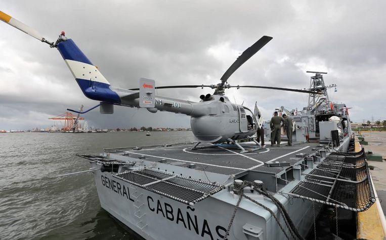 De militaire patrouilleboot die Honduras van Israël kocht en vrijdag officieel werd overgedragen. Beeld AFP
